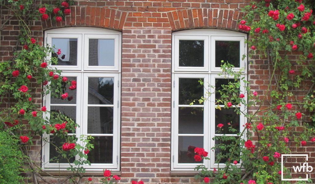 formschöne, weiße Sprossenfenster von wfb mit roten Rosen